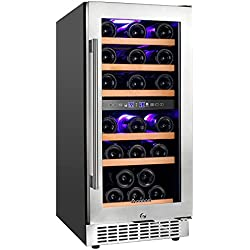 Aobosi 15'' Dual Zone Wine Cooler 30 Bottle Freestanding and Built-in Wine Refrigerator with Stainless Steel&Double-Layer Tempered Glass Door,Safety Child Lock