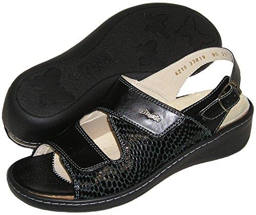 Fidelio Womens Hallux Fabia Bunion Relief Verstelbare Sandaal 33819 (zwart)