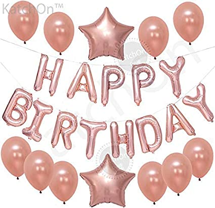 Happy Birthday Rose Gold Balloons Large Pack Of 13