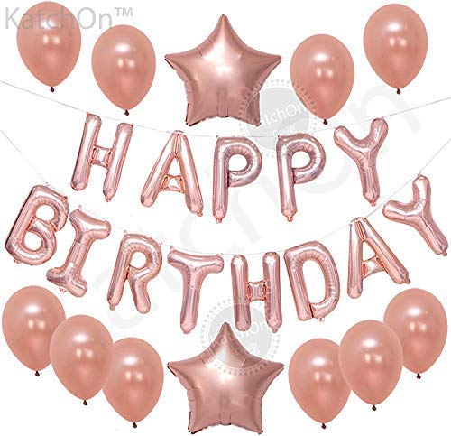 Happy Birthday Rose Gold Balloons, Large, Pack of 13 | Rose Gold Happy Birthday Letter Balloons | Star Mylar Foil and Latex Balloon | Rose Gold Decorations Supplies for All Ages]()