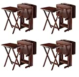Winsome Oversize Snack Table Set, Walnut (Pack of 4)