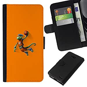 NEECELL GIFT forCITY // Billetera de cuero Caso Cubierta de protección Carcasa / Leather Wallet Case for LG OPTIMUS L90 // Baloncesto camaleón Lagarto
