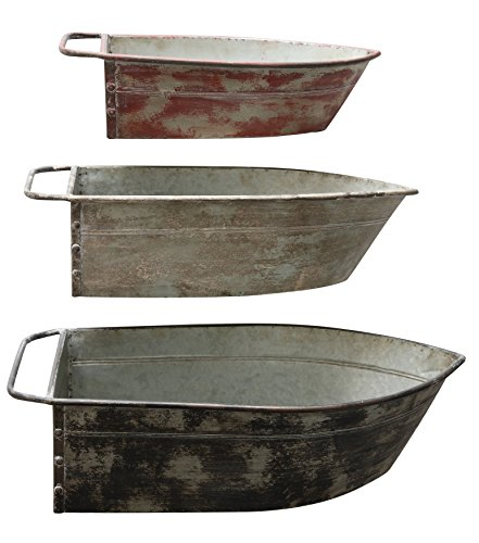 Creative Co-op Metal Boat Shaped Wall Décor/Planter (Set of 3 Colors/Sizes)