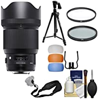 Sigma 85mm f/1.4 ART DG HSM Lens with Tripod + Strap + Filters Kit for Sony Alpha E-Mount Cameras