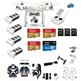 DJI Phantom 3 Professional (Pro) 4K Video Camera EVERYTHING YOU NEED Kit + 3 DJI Extra Batteries + Snap on Guards + 3 64GB U3 SD Cards w/Reader + Koozam Light Strip,Headlight + Carry System w/Harness