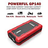 GOOLOO 600A Peak Car Jump Starter (Up to 6.0L Gas or 4.5L Diesel Engine) Portable Phone Power Bank Auto Battery Charger Pack Booster with Dual Quick Charge Output, Built in LED Light, Black/Red