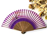 Pink White 1Pcs Summer Style Folding Hand Held Fan Fabric Floral Wedding Dance Favor Pocket Fan