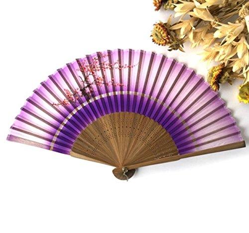 Pink White 1Pcs Summer Style Folding Hand Held Fan Fabric Floral Wedding Dance Favor Pocket Fan