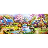 DIY 5D Diamond Painting by Number Kits Full Drill Crystal Embroidery Pictures Rhinestone Craft Forest Cottage 23.6 x 47.2 inch