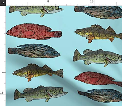 (Spoonflower Trout Fabric - Bass Fresh Water Fishing Fishing Pole Fishing Hole Bait Lodge Print on Fabric by The Yard - Modern Jersey - for Fashion Apparel Clothing with 4-Way Stretch)