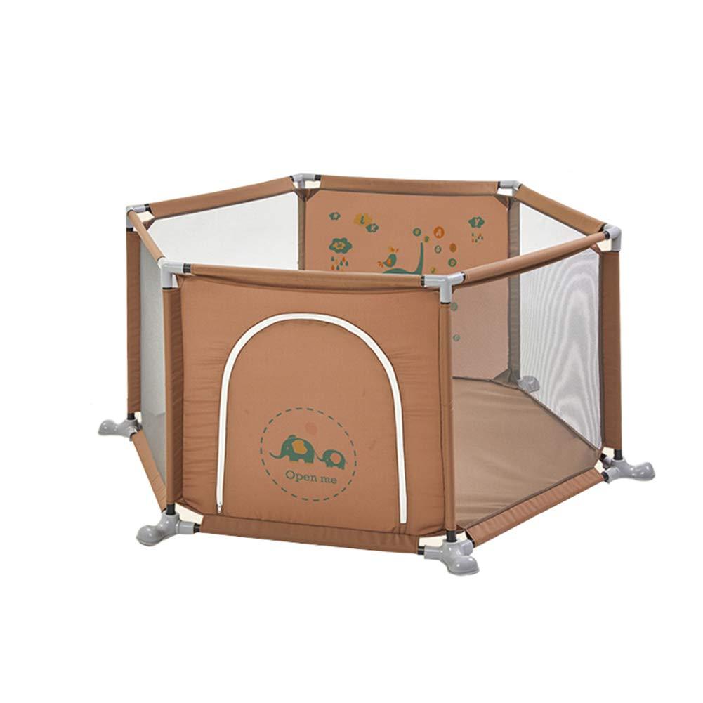 子供の安全Playpenポータブル屋内屋外公園Playpen Oxford Clothアクティビティセンターフェンス (色 : Brown)  Brown B07H2S1MYL