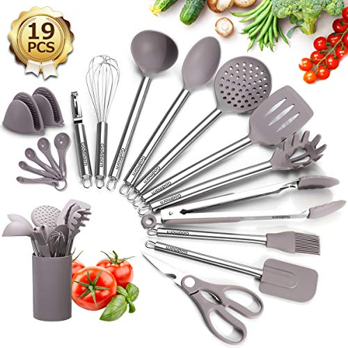 Kitchen Utensils Set Silicone, 19Pcs Cooking Utensils with Holder, Godmorn BPA-free Stainless Steel Handle Heat…