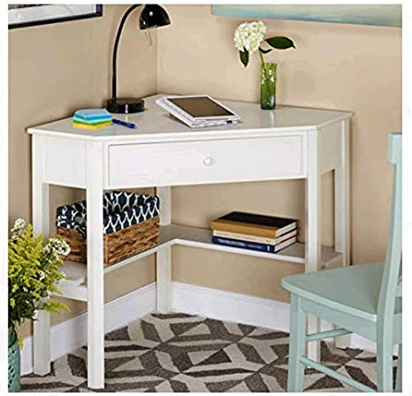 Classic White Desk for Small Space, with Functional Under-Desk Shelving and  a Drawer to Hide Clutter. Bedroom Living Room Wood Corner Computer Desk