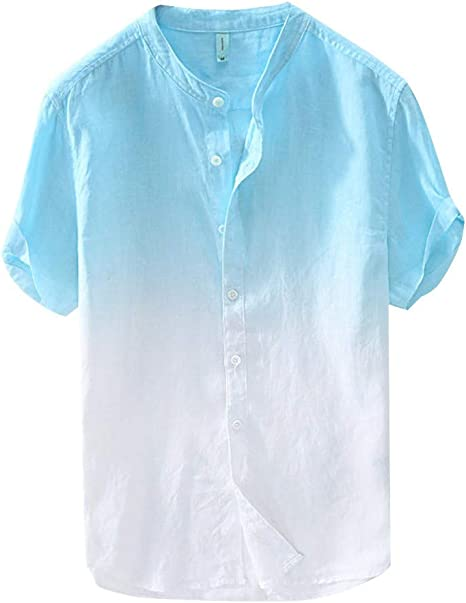 ZZZZZZZ - Camisa de algodón Degradado para Hombre de Verano ...
