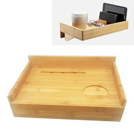 Estante de cama de bambú acoplable Estante de la cama del ...