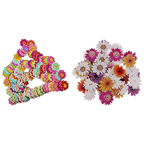 150Pcs Daisy Flower Craft Wooden Buttons for Arts and Crafts 20mm ()