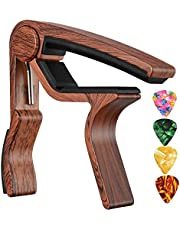 Sound harbor MA-12 Capo Guitar Capo for Acoustic and Electric Guitars, Zinc Alloy- Quick Change Guitar Capo & Free 4 Pick (RoseWood Color 1)