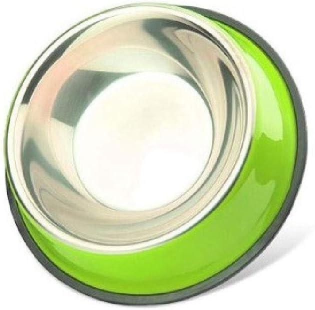 CWWAN Pet Bowl Non-Slip Stainless Steel Dog Bowl cat Bowl Food Bowl Basin Single Bowl (Green)