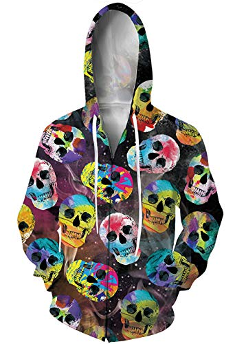 - Goodstoworld 3D Skull Zip Hoodie Cool Print Graphic Sweatshirt Hooded with Pockets