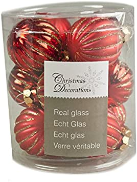 12 x 3cm Fizzco Gold Ribbed Glass Baubles