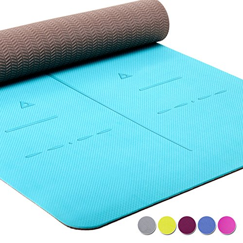 "Heathyoga LIMITED TIME DEAL Eco Friendly Non Slip Yoga Mat, Body Alignment System, SGS Certified TPE Material - Textured Non Slip Surface and Optimal Cushioning,72""x 26"" Thickness 1/4"