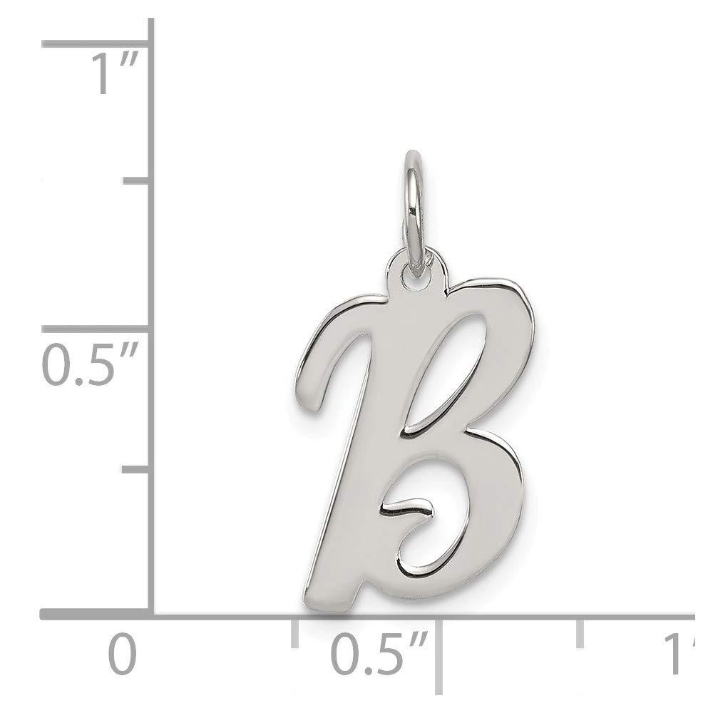 Mia Diamonds 925 Sterling Silver Medium Script initial B Charm 18mm x 11mm