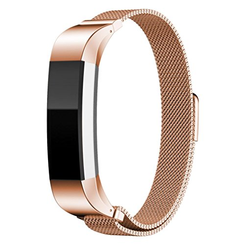 Voberry® Magnetic Loop Edelstahlband für Fitbit Alta Smart Watch (Rose Gold)