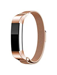Susenstone Fitbit Alta Smart Watch Milanese Magnetic Loop Stainless Steel Band (Rose Gold)