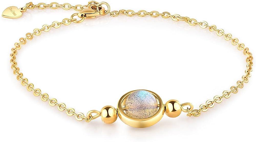 Dalwa - Pulsera de mujer de plata 925 bañada en oro 585 de 14quilates / piedra preciosa de luna–Cadena con amuleto, incl. bolsa de regalo