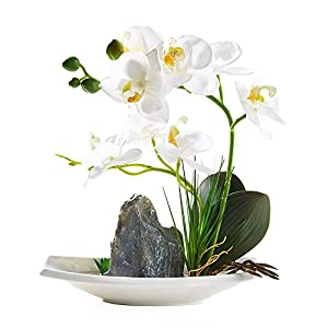 BeautiLife Artificial Orchid Flower Arrangements,Silk Orchid Flower Centerpiece Bonsai Rockery Series in vase for Dining Table Decor, Home Office Decoration(White) 1
