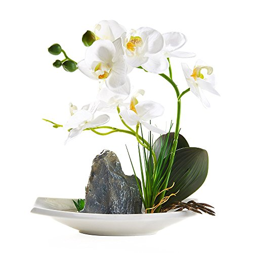 BeautiLife Artificial Orchid Flower Arrangements,Silk Orchid Flower Centerpiece Bonsai Rockery Series in vase for Dining Table Decor, Home Office Decoration(White) ()
