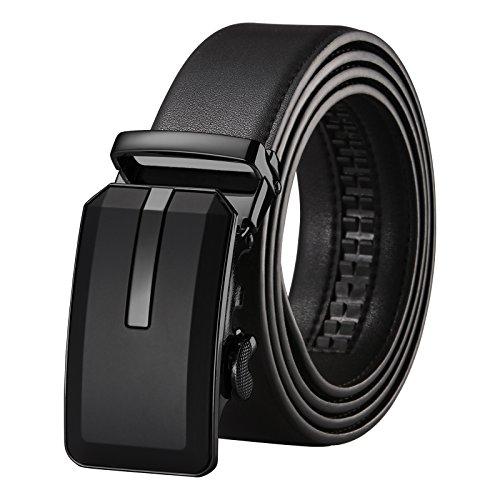 Men's Holeless Leather Ratchet Formal Belt Comfort Click Sliding Buckle Wide 1 3/8'