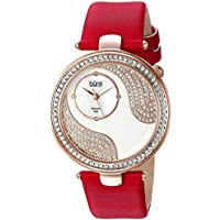 Burgi Women's BUR155RD Rose Gold Quartz Watch With Swarovski Crystal and Diamond Mother of Pearl Dial With Red Satin Strap