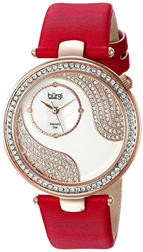Burgi Women's BUR155RD Rose Gold Quartz Watch With Swarovski Crystal and Diamond Mother of Pearl Dial With Red Satin - Womens Heart Burgi