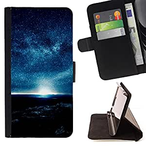 DEVIL CASE - FOR HTC One M7 - Blue Planet Atmosphere Night Sky Stars Sun - Style PU Leather Case Wallet Flip Stand Flap Closure Cover