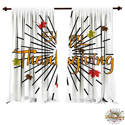 Card Flat Ballerina (Panels Sun Blocking Curtains Happy Thanksgiving Day celebrations greeting card design with hanging maple leaves Flat design style Happy Thanksgiving Da Blackout Drapes for Bedroom)