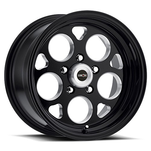 (AMERICAN MUSCLE SPORT MAG Wheels/Rims 15x10 inch 114.3 ET-25 Gloss Black Milled Windows)