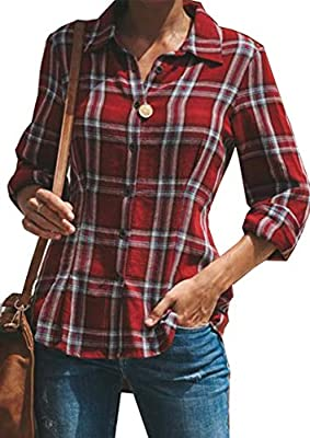 Yidarton Women's Casual Plaid Tops Button Down Long Sleeve Blouse Flannel T Shirts