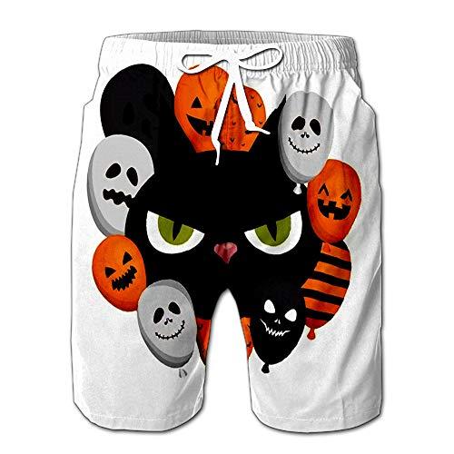 Summer Shorts Pants Halloween Head Black Cat with Balloons Helium Design Mens Golf Sports Shorts M -