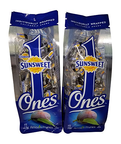 (Sunsweet Gold Label Ones Super Select California Individually Wrapped Prunes 6.0 Ounces (Pack of 2)(Packaging May Vary))