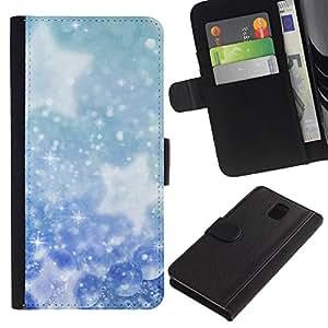 A-type (Invierno Copos de nieve Estrellas) Colorida Impresión Funda Cuero Monedero Caja Bolsa Cubierta Caja Piel Card Slots Para Samsung Galaxy Note 3 III