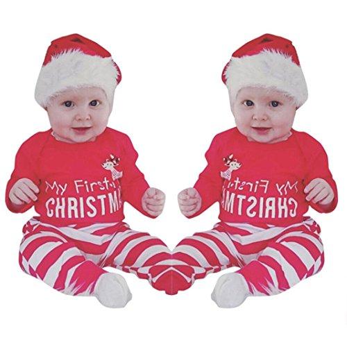 Kollmert Deer Romper Newborn Baby Girls Boys My First Christmas Tops Stripe Pants Set (3M, Red)