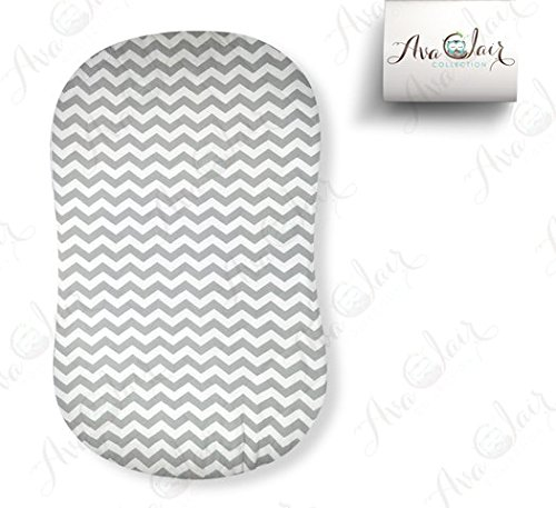 Best Halo Bassinet Mattress Pad - & Sheet Cover Protector, Waterproof Fitted Sheets for Halo Swivel Sleeper, Hypoallergenic, White & Grey Chevron Design for Baby Boy & Girl, Smart Elastic Band Design (Mattress Bassinet Round)