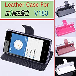 free shipping For Gionee V183 case cover Wallet, Good Quality Leather Case+ hard Back cover For Gionee V183 cellphone In Stock --- Color:Black