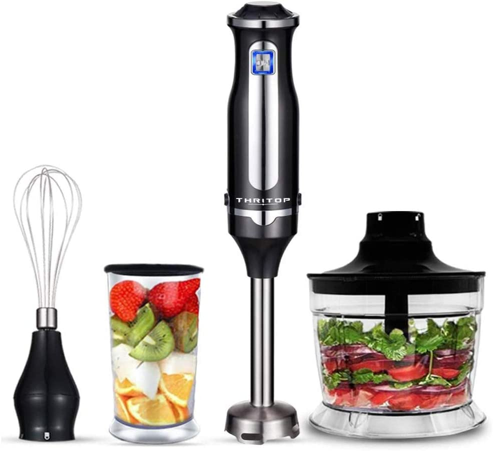Immersion Blender, THRITOP powerful 4-in-1 Hand Blender Stick Blender with 700ml food chopper,BPA Free 700Ml Mixing Beaker and Egg Whisk,Puree Baby food,smoothies,Sauces and soups,black(2 Tpye)