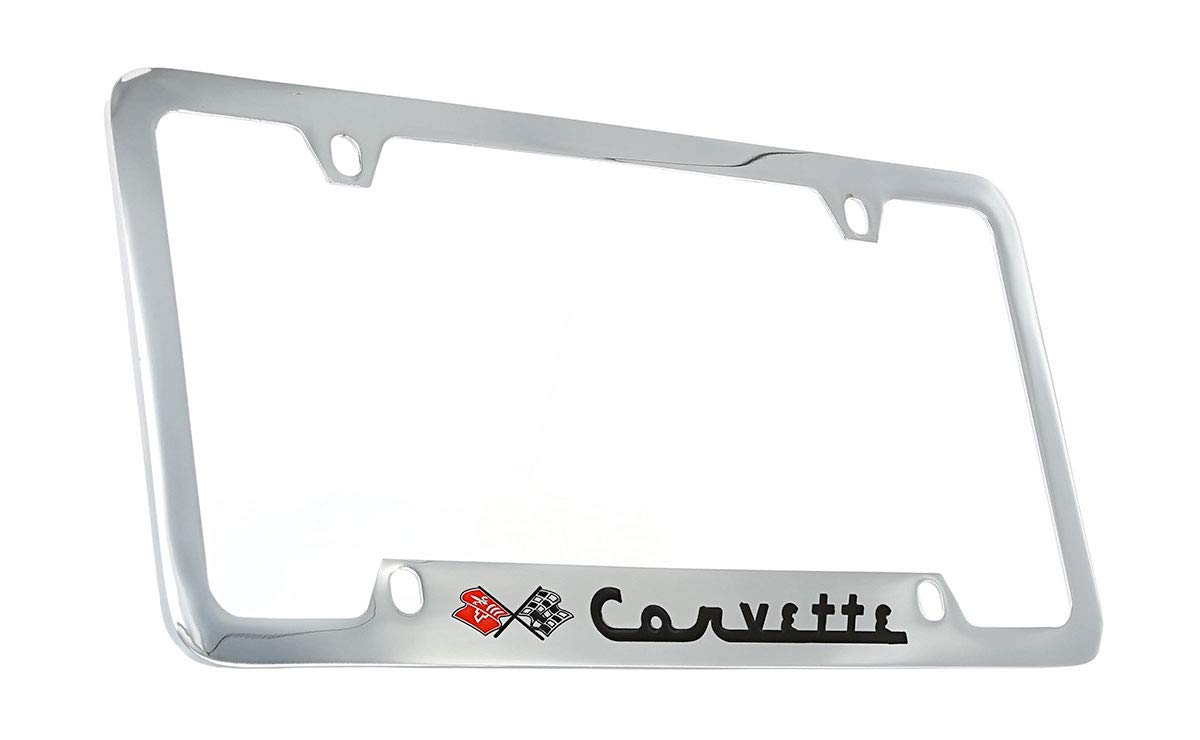 Chevrolet Corvette C1 Chrome Plated Metal Bottom Engraved License Plate Frame Baronlfi