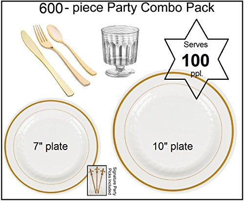 600-piece Party Combo Pack, Premium Plastic White w/GOLD Dinner Plates, Gold Cutlery and Disposable Wine Glasses w/Signature Party Picks - SERVES 100