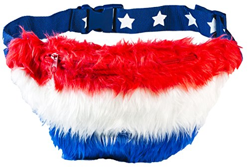 Funny Guy Mugs Red, White & Blue Fur Fanny Pack - USA - 4th of July