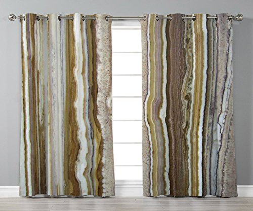 Thermal Insulated Blackout Grommet Window Curtains,Apartment Decor,Onyx Marble Rock Themed Vertical Lines and Blurry Stripes in Earth Color,Mustard Brown,2 Panel Set Window Drapes,for Living Room Bedr (Earth Stripe Skinny)