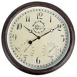 Esschert Design Plastic Clock and Thermometer, Large